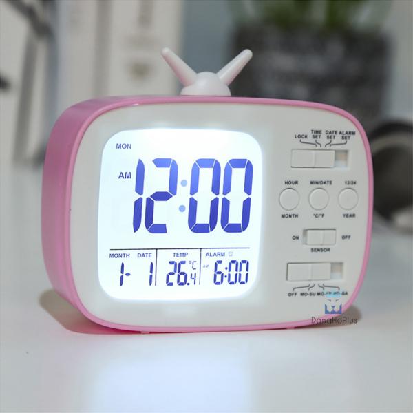 Đồng hồ để, đồng hồ báo thức T10180 Hiển thị ngày, giờ, nhiệt độ phòng, báo thức, màn LCD tiết kiệm điện, thiết kế thân thiện, nhiều màu sắc bán chạy