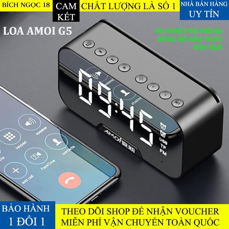 Loa bluetooth Amoi G5, Loa không dây bluetooth 3 trong 1, loa kiêm đèn ngủ, đồng hồ bóa thức, đo nhiệt độ, nghe đài Fm, loa để bàn pin trâu hỗ trợ dây AUX và thẻ nhớ