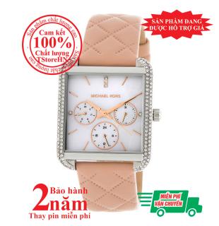Đồng hồ nữ Michael Kors MK2768, vỏ Bạc (Silver), mặt Trắng bạc, dây da hồng nhạt (Pink), viền đồng hồ nạm đá pha lê Swarovski, lịch ngày tháng, size 32mmx39mm- Item no MK2768 thumbnail