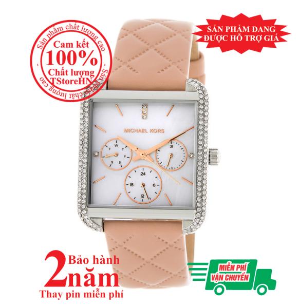 Đồng hồ nữ Michael Kors MK2768, vỏ Bạc (Silver), mặt Trắng bạc, dây da hồng nhạt (Pink), viền đồng hồ nạm đá pha lê Swarovski, lịch ngày tháng, size 32mmx39mm- Item no: MK2768
