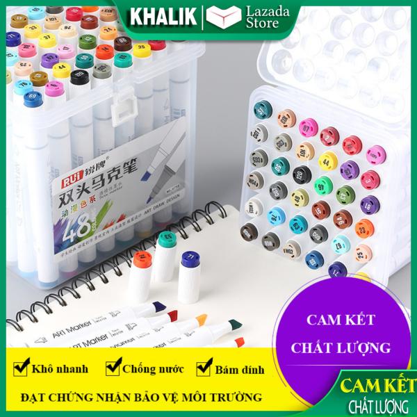 Hộp bút màu dạ nước Marker cao cấp - Màu chuẩn, hộp nhựa trắng cao câp (đủ size chọn lựa)