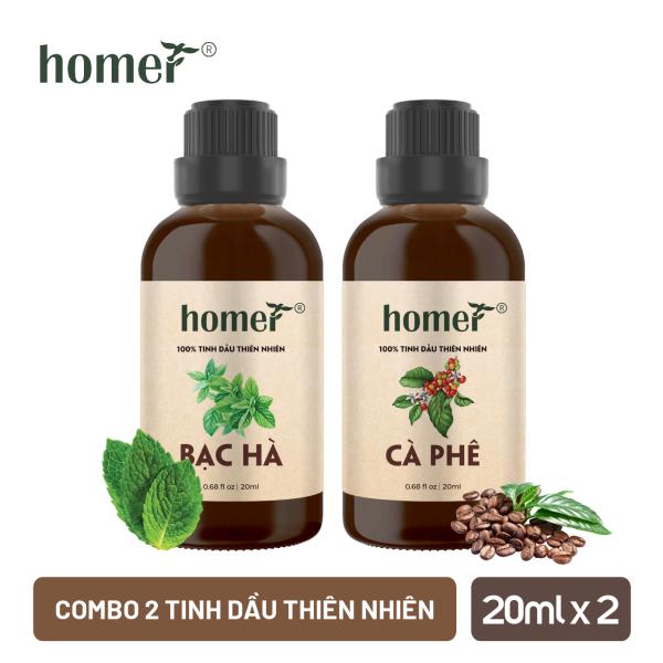 Combo 2 chai tinh dầu Bạc hà và tinh dầu Cà phê HOMER - Dung tích 20ml/100ml giá rẻ