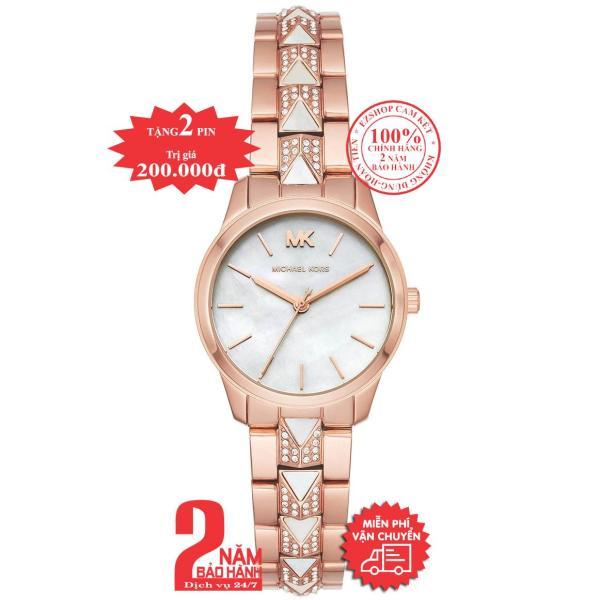 Đồng hồ nữ MK Petite Runway Mercer  MK6674 - Vỏ và dây màu Vàng hồng (Rose Gold), mặt đồng hồ màu trắng, dây đínhđá pha lê Swarovski, size 28mm - MK6674