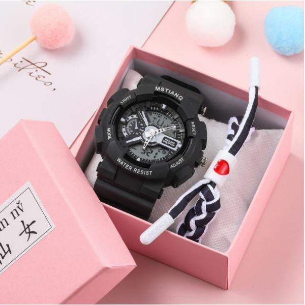 Đồng Hồ Nữ MSTIANQ Điện tử Thể Thao Dây Cao Su Siêu bền BMS tặng kèm vòng tay thời trang bán chạy