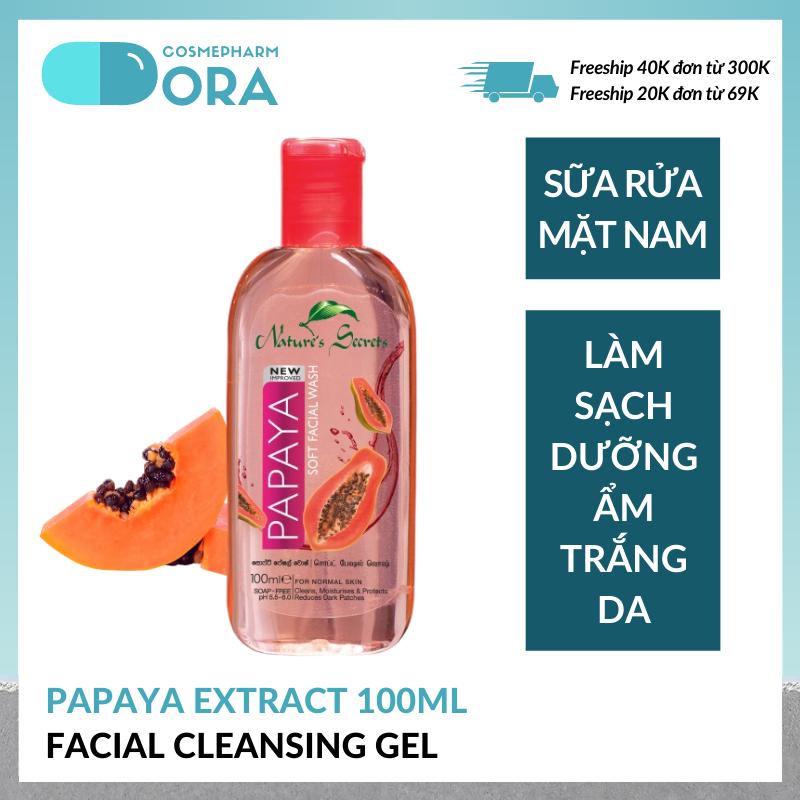 Sữa rửa mặt nam dưỡng ẩm trắng da Papaya Extract Facial Cleansing Gel 100ml