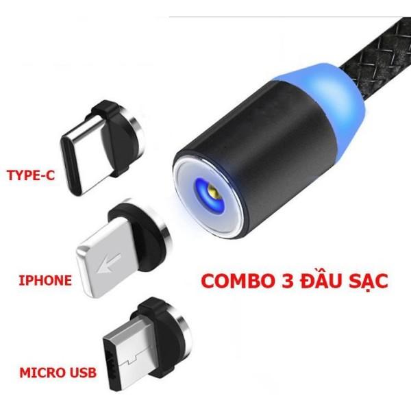 Cáp sạc nam châm 3 đầu MICRO USB/ LIGHTNING/ TYPE-C cho điện thoại - BẢO HÀNH 6 THÁNG