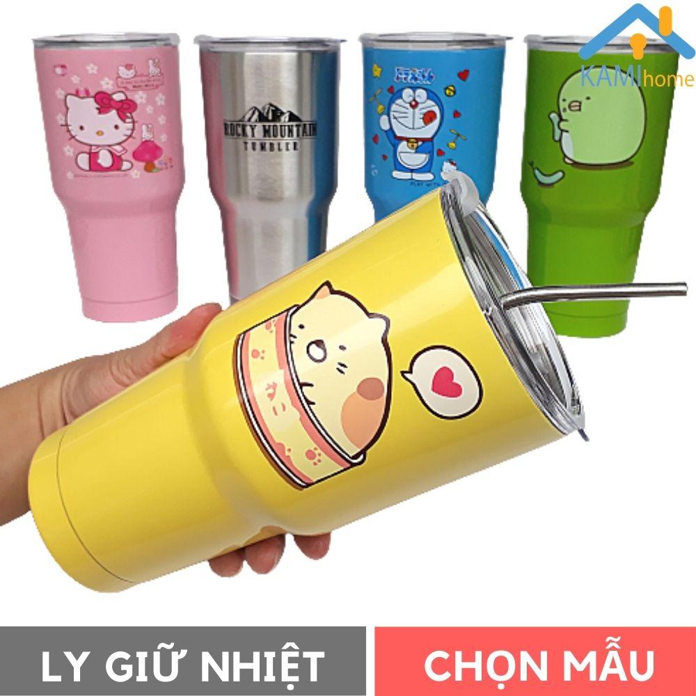 Ly giữ nhiệt Thái Lan inox 304 900ml Kèm bộ ống hút bình cốc uống nước cách nhiệt mã 22008