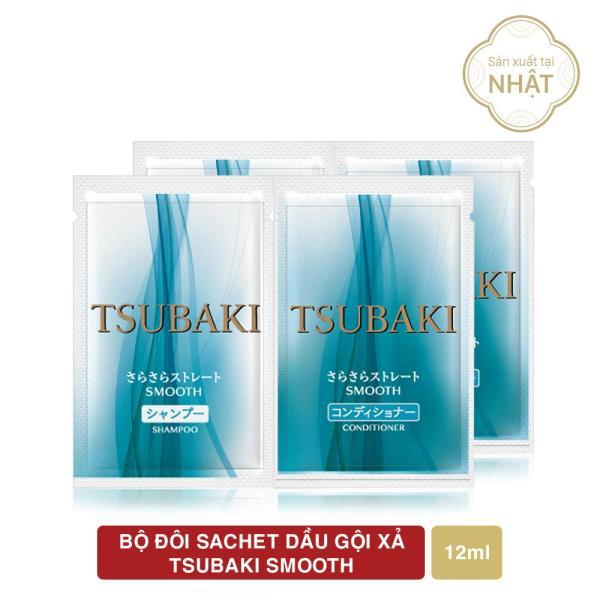 Bộ 2 Sachet dầu gội xả Tsubaki Smooth dưỡng ẩm và giữ nếp dầu gội + dầu xả (24mlx2) giá rẻ