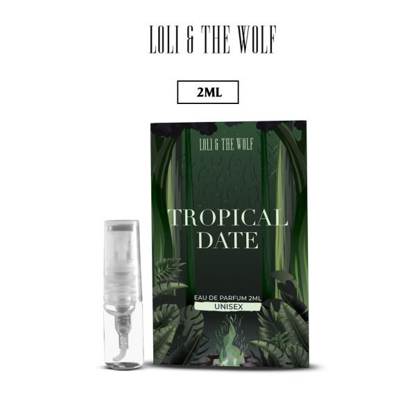 Nước hoa mini Unisex Tropical Date Eau De Parfum dành cho nam và nữ, lưu hương 6-8 tiếng, chai 2ml nhỏ gọn, tiện dụng - LOLI & THE WOLF