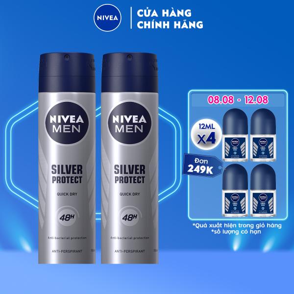 Bộ đôi Xịt Ngăn Mùi NIVEA MEN Silver Protect Phân Tử Bạc Giảm 99.9% Vi Khuẩn Gây Mùi (150ml) - 82959 nhập khẩu
