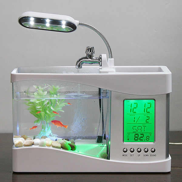 Bể Cá Mini Để Bàn Tặng Sỏi Và Cây Thuỷ Sinh-Bể Cá Có Đèn Và Màn Hình Đồng Hồ Điện Tử