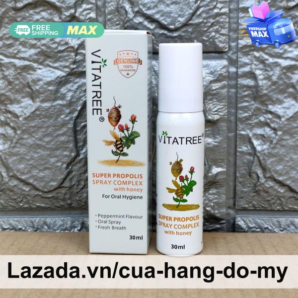 Chai Xịt Keo Ong Vitatree 30ml Super Propolis Spray Complex with Honey Giảm Đau Họng Của Úc cao cấp