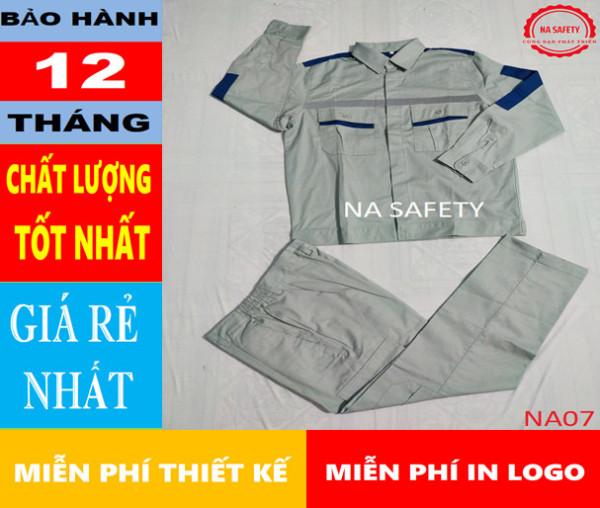 Quần áo bảo hộ vải Pangrim Hàn Quốc màu ghi đá xanh phối xanh dương NA07,bảo hộ lao đông, bao ho lao dong,quần áo bảo hộ, quần áo bảo hộ hàn quốc, quần áo công nhân, đồ bảo hộ lao động, quần áo bảo hộ cho kỹ sư