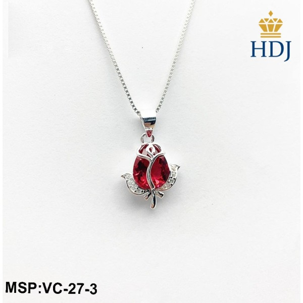 Dây chuyền bac 925 Hình Hoa Hồng Tình Yêu Đính đá đẹp trang sức cao cấp HDJ mã VC-27-3