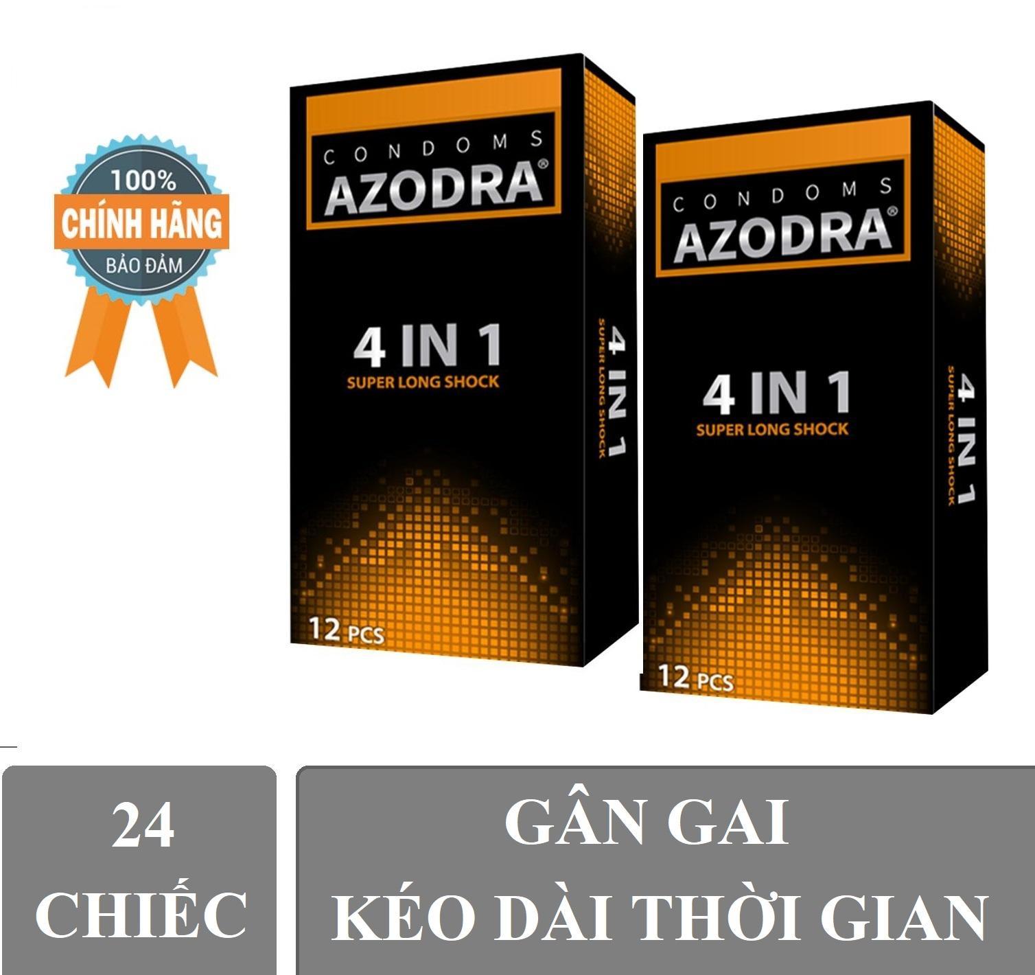 Combo 2 hop Bao Cao Su Azodra Tổng Hợp Gân, Gai, Mỏng, Kéo Dài Thời Gian Quan Hệ ( hộp 12 chiếc )Cam ket chinh hang 100% nhập khẩu