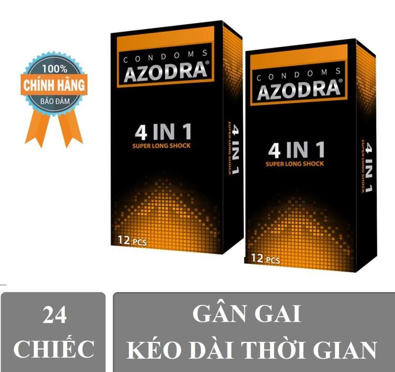 Combo 2 hop Bao Cao Su Azodra Tổng Hợp Gân, Gai, Mỏng, Kéo Dài Thời Gian Quan Hệ ( hộp 12 chiếc )Cam ket chinh hang 100%