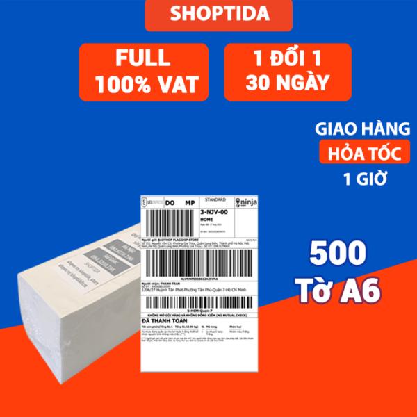 Giấy in nhiệt Shoptida 500 tờ A6 10*15cm 3 lớp tự dán chống nước, sử dụng cho máy in nhiệt Shoptida SP46