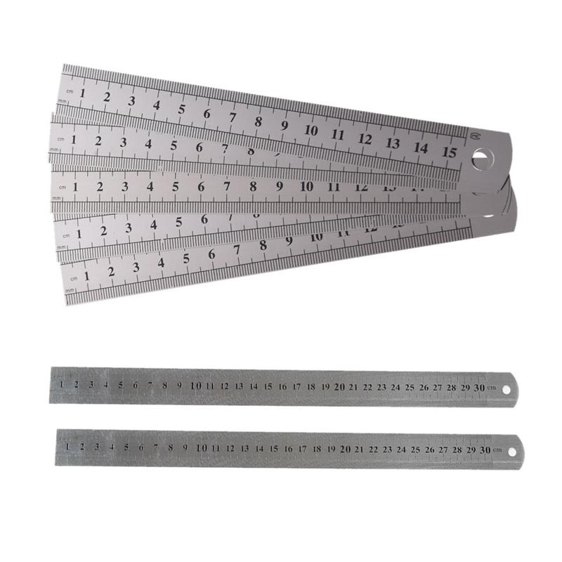 Mua 5 Pcs Dual Side Marked 15cm 6 Inch Stainless Steel Straight Ruler & 2 Pcs Metric 30cm Stainless Steel Straight Ruler Measuring Tool 12 inch