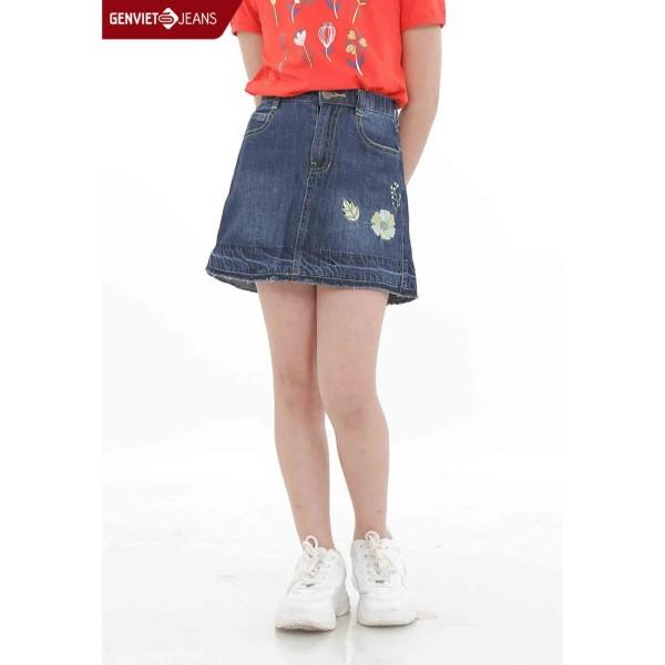 Giá bán Chân váy jeans dáng A bé gái KJ328J463 GENVIET KID