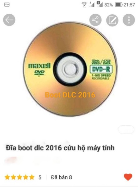 Bảng giá đĩa boot dlc 2016 cứu hộ máy tính Phong Vũ