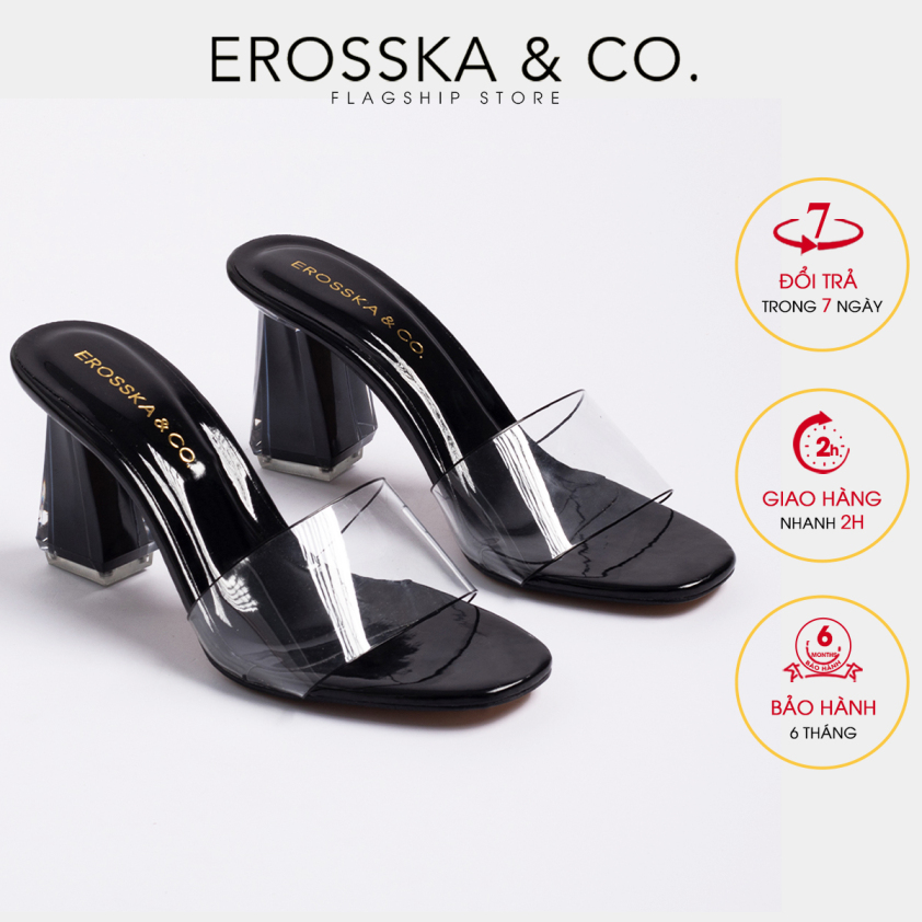 Dép nữ, dép cao gót Erosska quai trong kiểu dáng đơn giản thời trang thanh lịch cao 9cm EM040 (BA) giá rẻ