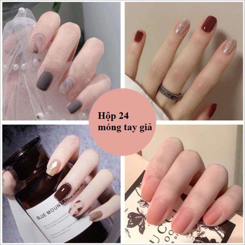 [ Tặng keo +dũa] Bộ 24 móng tay giả cao cấp Hot 2021- Nail giả cao cấp- Kinakino phukienlamdep giá rẻ