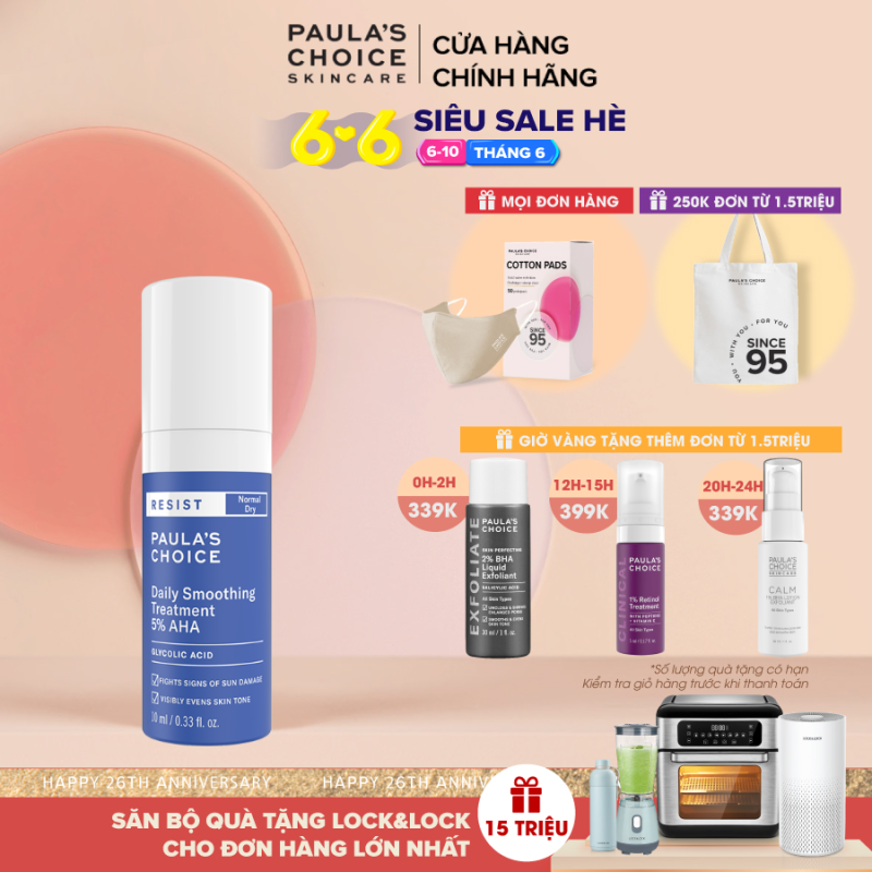 Kem tẩy da chết bề mặt làm sáng mịn và đều màu  da  Paula's Choice RESIST Daily Smoothing Treatment With 5% AHA 10 ml-7667 giá rẻ