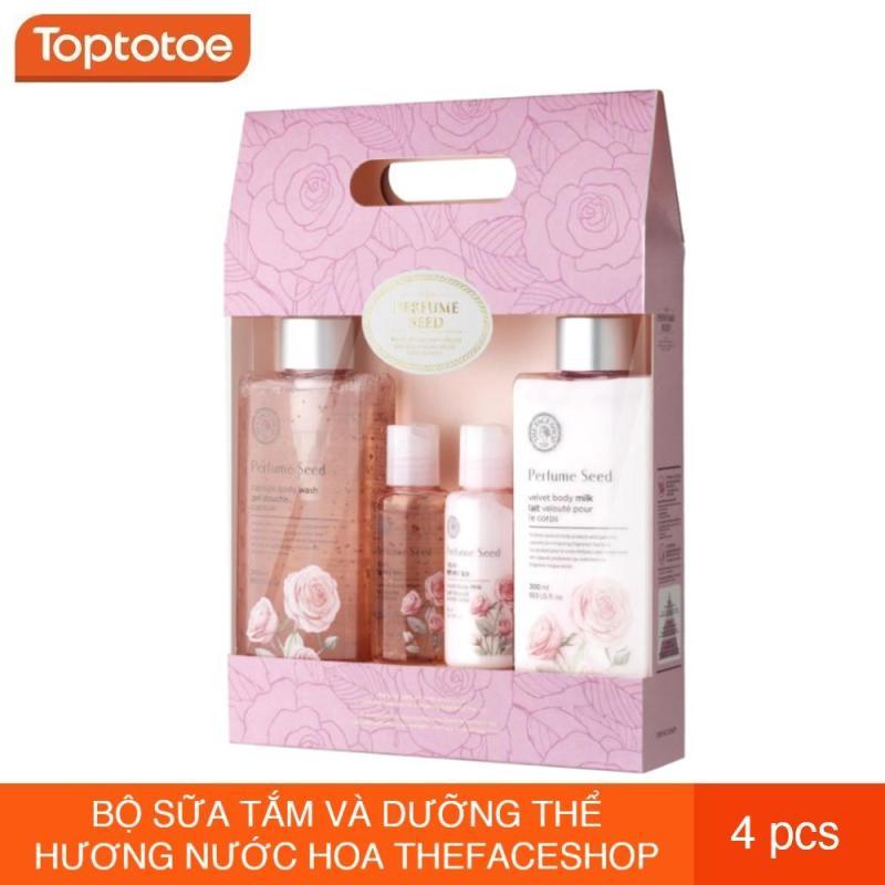 Bộ Sữa Tắm Và Dưỡng Thể Hương Nước Hoa Thefaceshop Perfume Seed Velvet Special Body Care Set (4 sản phẩm)
