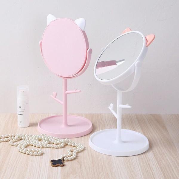 Gương để bàn tai mèo - Gương trang điểm tai mèo - Gương tai mèo cute