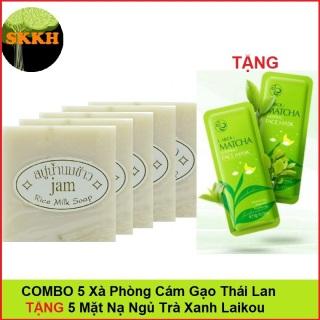 Siêu Rẻ Combo 5 Cục Xà Phòng Cám Gạo Kích Trắng Da Jam Rice Milk Soap Thái Lan TẶNG 5 Mặt Nạ Ngủ Matcha Laikou thumbnail