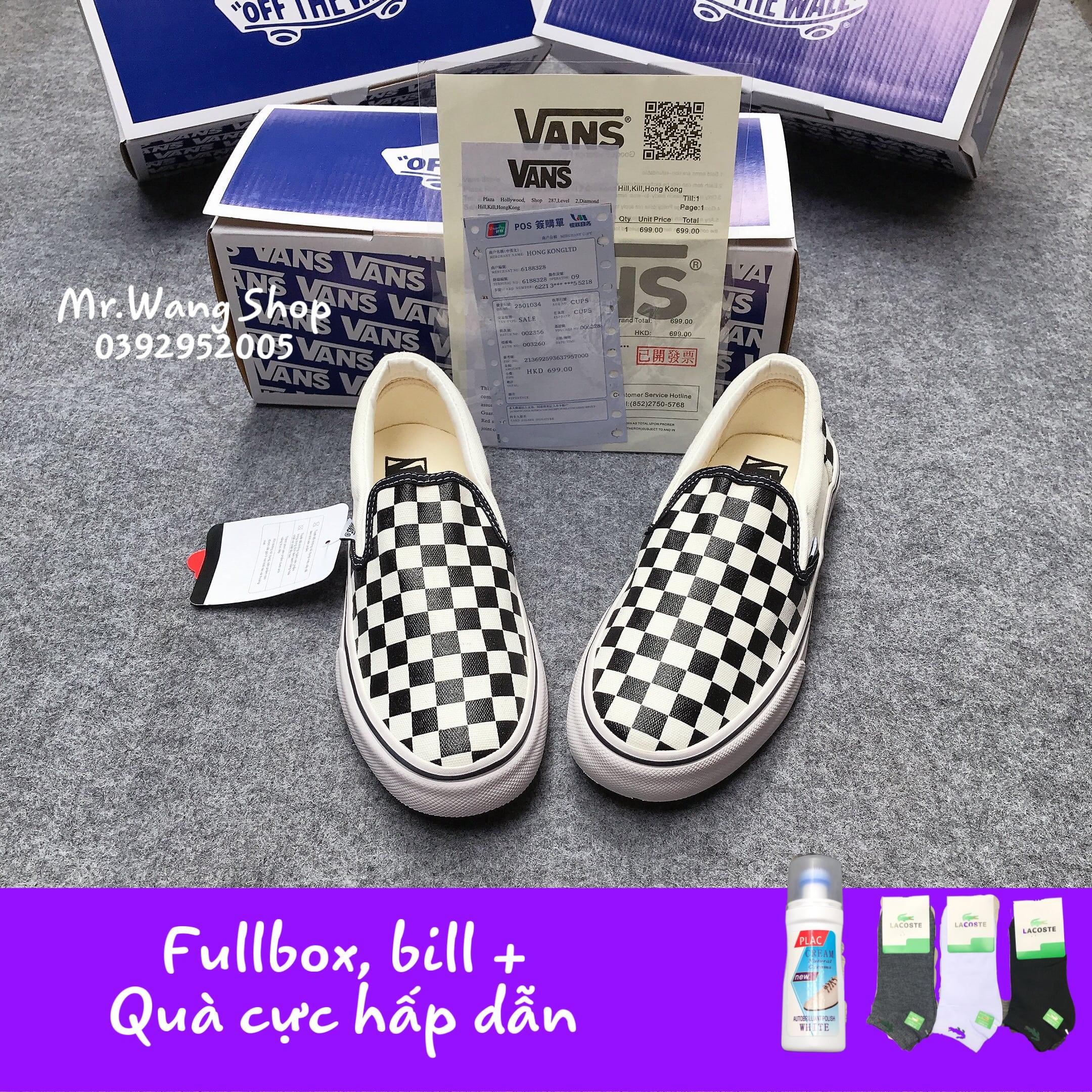 [Fullbox, Bill + Tất + Lọ tẩy trắng] Giày thể thao nam nữ Vans Slip On Lười Caro 36-43