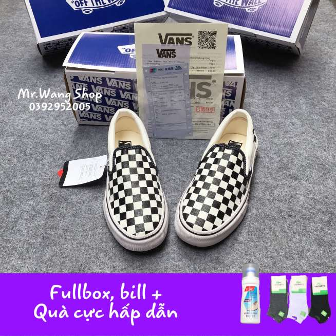 [Fullbox, Bill + Tất + Lọ tẩy trắng] Giày thể thao nam nữ Vans Slip On Lười Caro 36-43 giá rẻ
