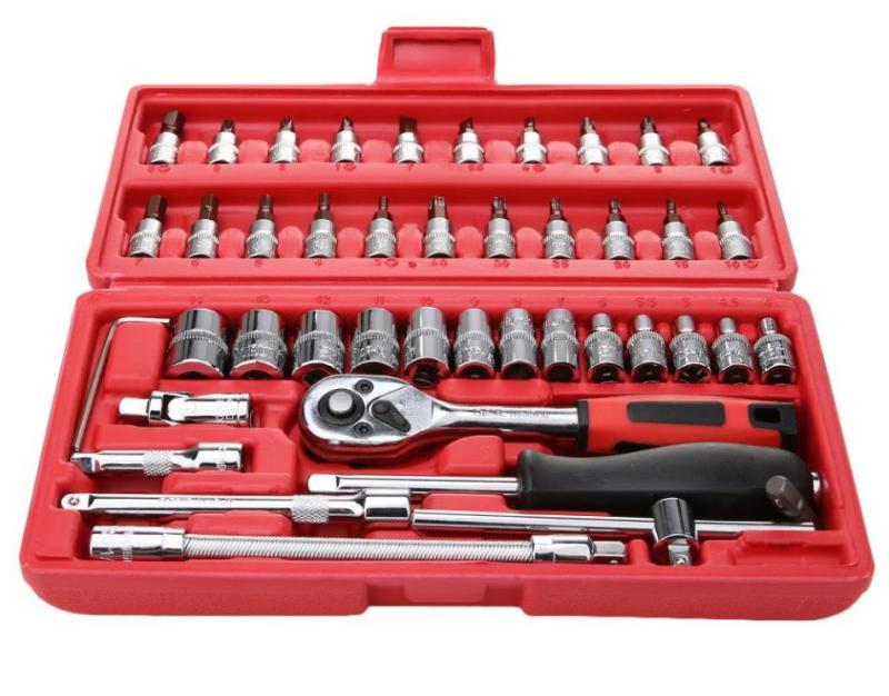 Bộ dụng cụ mở bu lông ốc vít, sửa chữa ô tô xe máy đa năng 46 chi tiết – hộp đỏ PS-46