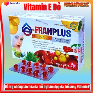 Viên Uống đẹp da Franplus Vitamin E Đỏ 4000mcg Chiết xuất Hạt Nho,1000mcg, Dầu Gấc 30000mcg, Aloe vera 500mg chống lão hóa- Hộp 30 viên thumbnail