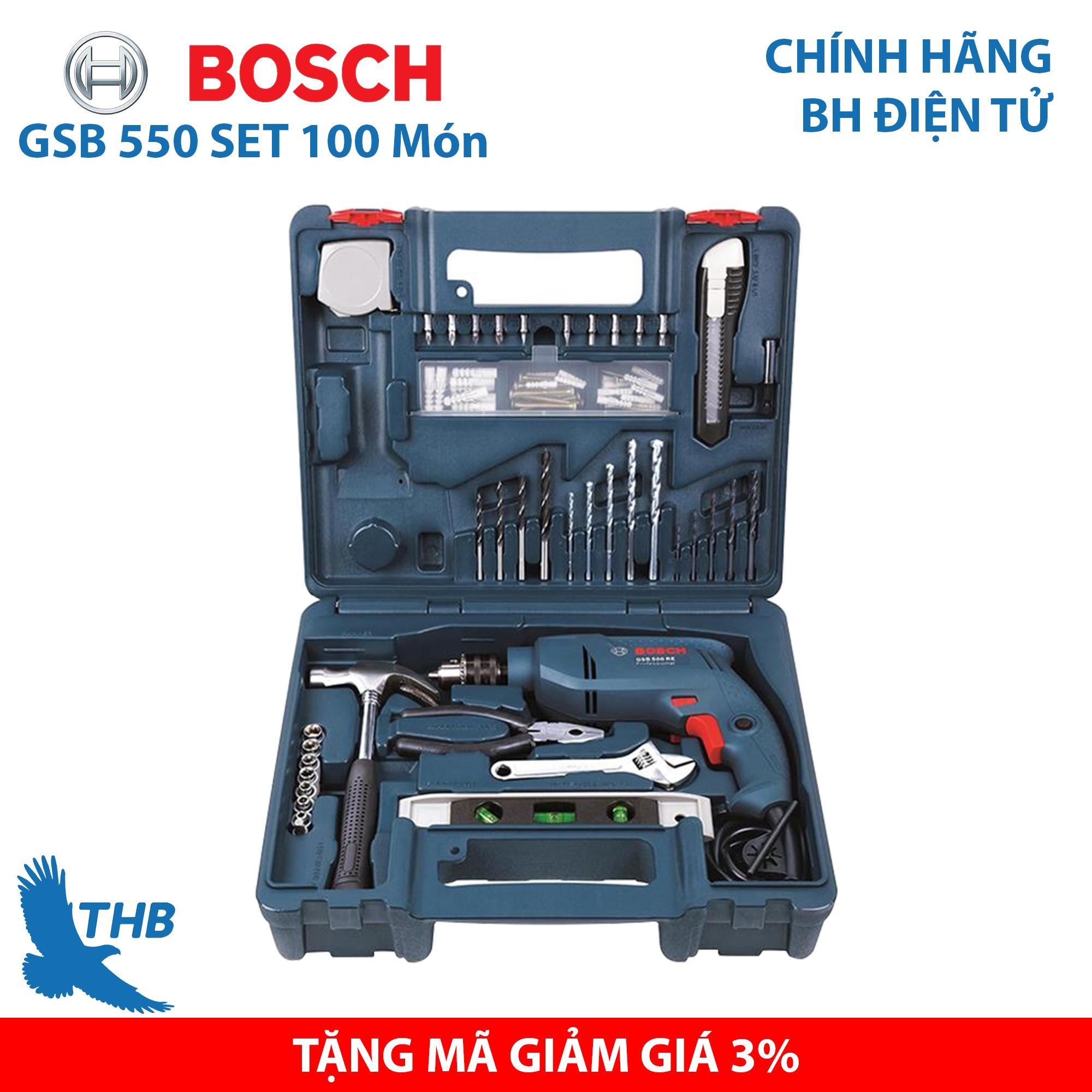 Bộ Máy khoan động lực Máy khoan gia đình Bosch GSB 550 Set 100 món - Bộ máy khoan bán chạy nhất năm 2019