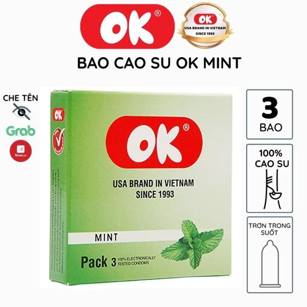 Bao cao su OK hương bạc hà mát lạnh hộp 3 bao trơn bóng kéo dài thời gian từ mủ cao su tự nhiên siêu mỏng chống tuột