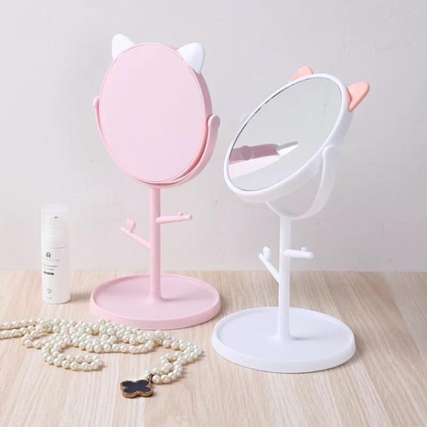 Gương trang điểm tai mèo xoay 360 độ để bàn Clovershop