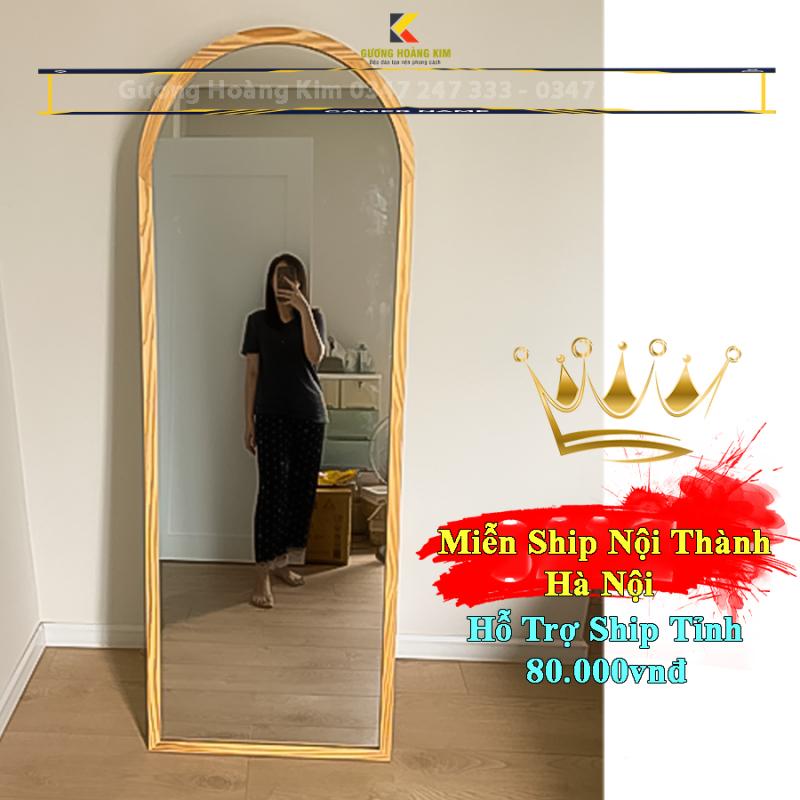 Gương soi toàn thân hoàng kim có hình mái vòm khung viền gỗ tự nhiên có chân đế mã GK-0003 _guonghoangkim Mirro