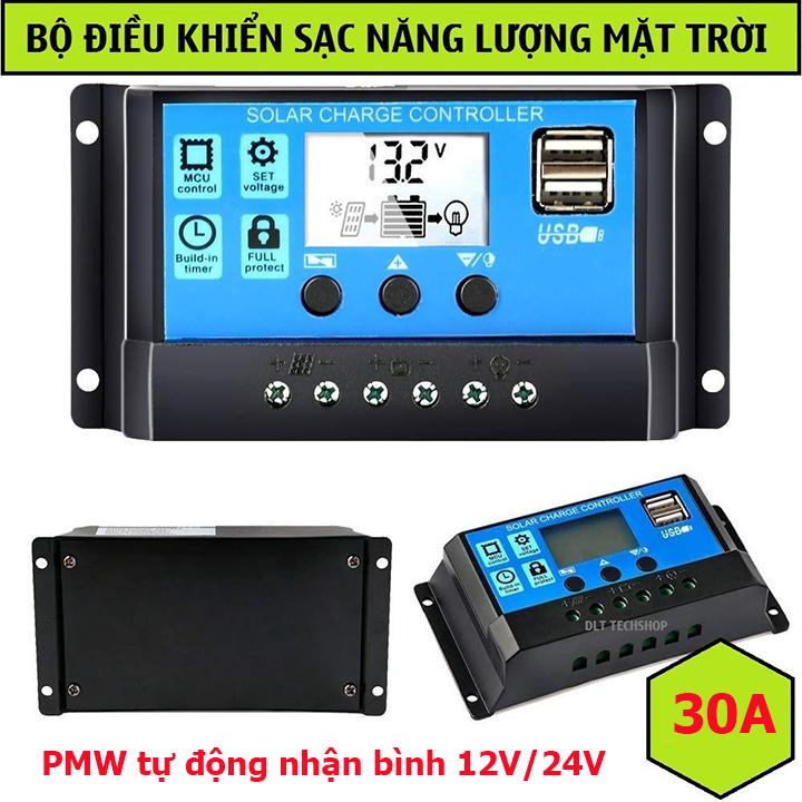 Bộ điều khiển sạc pin năng lượng mặt trời PWM 12/24V tự động nhận bình công suất lớn 30A