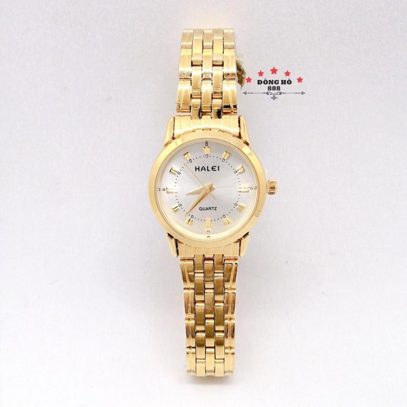 Đồng hồ nữ HALEI dây kim loại thời thượng ( HL502 dây vàng mặt trắng ) - Kính Chống Xước, Chống Nước Tuyệt Đối, Mạ PVD Cao Cấp Chống Gỉ Chống Phai Màu Thời Trang Hottrend 2020