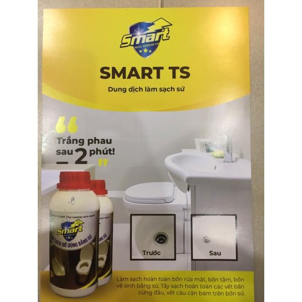 Smart TS- Nước tẩy rửa làm sạch đồ dùng bằng sứ như chậu rửa, bồn cầu... siêu nhanh, siêu sạch chai 500ml, Công ty đã ra mẫu mới chai dẹt.