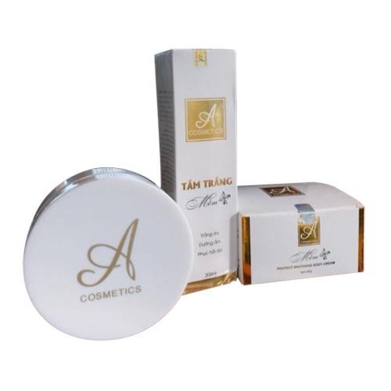 Combo tắm trắng và kem body mềm A Cosmetics hàng cty giúp da bật tông rõ rệt sau 7 - 10 ngày