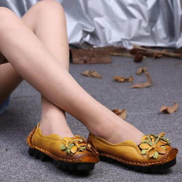 Mùa Xuân Và Mùa Thu Da Thật Giày Tods Thoải Mái Đế Mềm Phong Cách Dân Tộc Giày Cho Mẹ Đế Bằng TRUNG NIÊN Big Size Giầy Nữ Thủ Công Giày giá rẻ