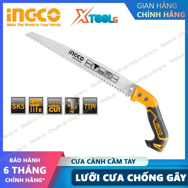 Cưa cành cầm tay INGCO HPS3008 12 cưa gỗ chuyên dụng siêu sắc bén, lưỡi cưa SK5 7 răng/1 chống cong gãy, chống rỉ sét. [XSAFE] [XTOOLs]