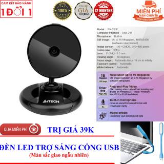 TẶNG Đèn LED USB Trợ Sáng - WEBCAM MÁY TÍNH, PC, LAPTOP A4TECH PK-520F Tích Hợp Micro Độ Phân Giải 640x480 - Webcam giá rẻ - Webcam học online tại nhà thumbnail