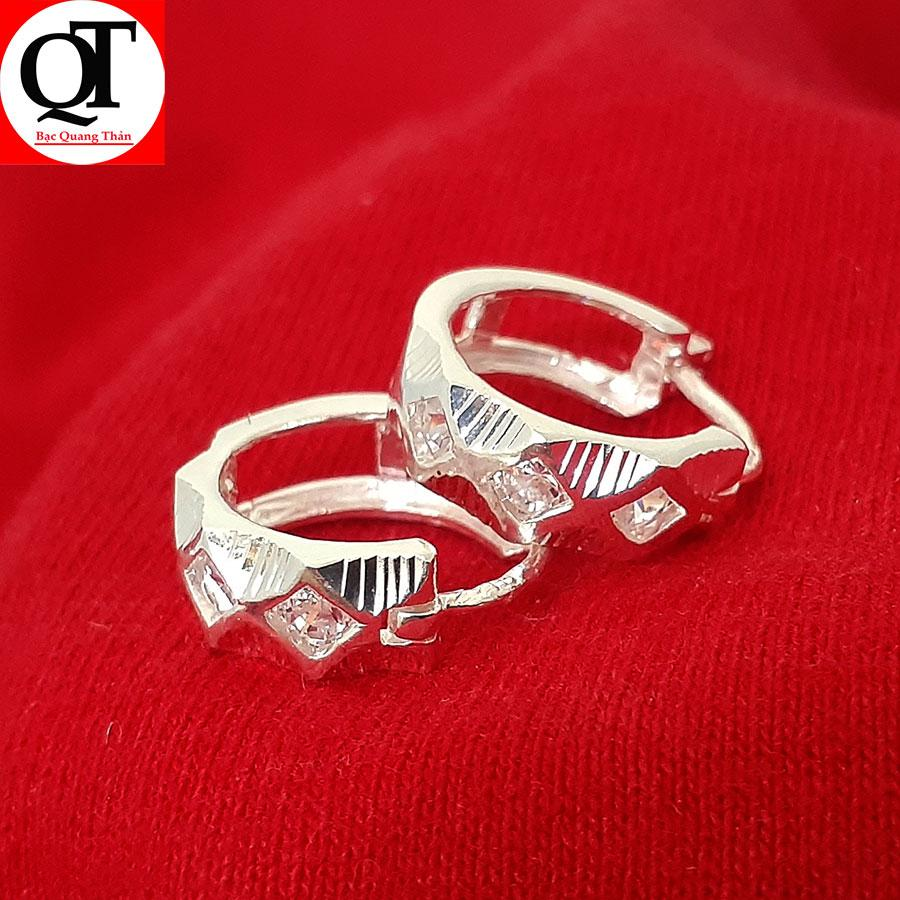 Bông tai nữ Bạc Quang Thản, khuyên tai nữ dáng tròn đeo sát tai chất liệu bạc thật không xi mạ, không gỉ, không  gây kích ứng da, dễ kết hợp trang phục, thích hợp đeo thời trang làm quà tặng - QTBT3