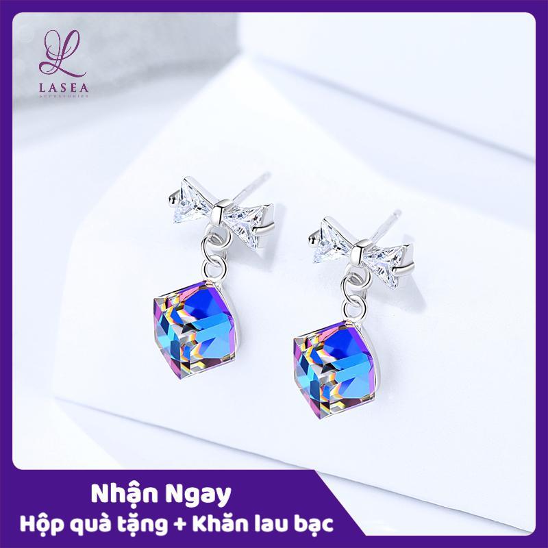 Bông tai nữ trang sức bạc Ý S925 Lasea - Hoa tai đính đá hình nơ cao cấp ( Xanh Deep Blue ) E1507