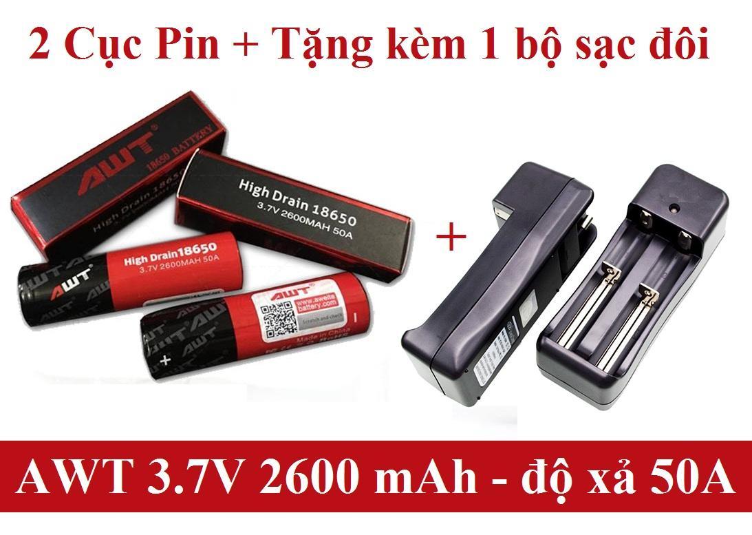 Combo 2 Viên Pin AWT 50A 2600mah 18650 - Sản Phẩm Chất Lượng Dành Cho Vapez + Tặng kèm 1 bộ sạc đôi