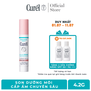 (6.6 Tặng 2 chống nắng Curel 28ml) Son Dưỡng Môi Cấp Ẩm Chuyên Sâu Curel Intensive Moisture Care Moisture Lip Care Cream Light Pink - Hồng Nhẹ 4.2g thumbnail