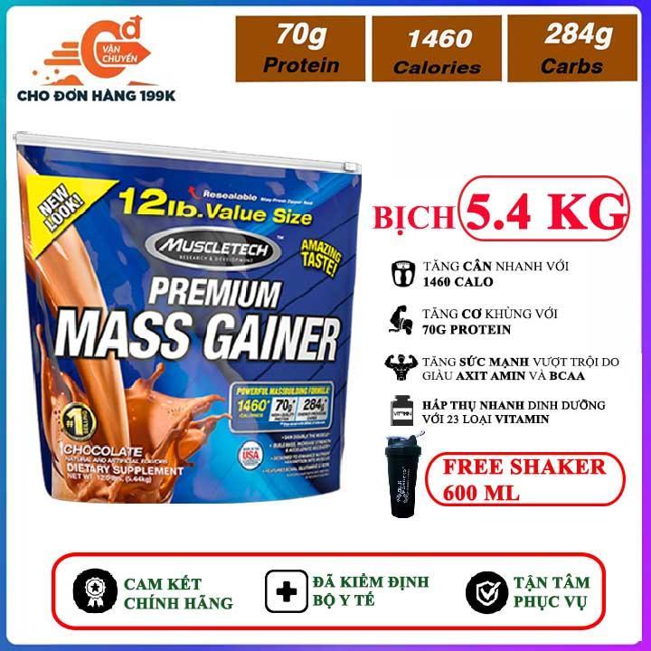 [TẶNG BÌNH LẮC] Sữa tăng cân tăng cơ Premium Mass Gainer của MuscleTech bịch 5.4 kg dễ hấp thu, không kén người dùng, có enzym tiêu hóa cho người gầy, kén ăn, khó hấp thu - thuc pham chuc nang